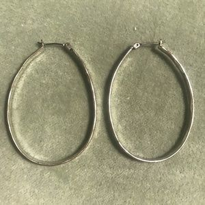 Sterling Silver Pounded Hoop Oval Earrings